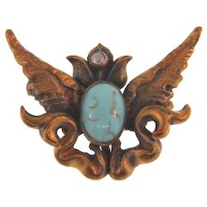 Vintage Art Nouveau winged Scatter Pin with seed pearl and turquoise glass stone