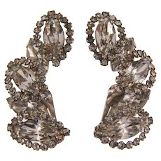 Signed Weiss diamante clip back Earrings