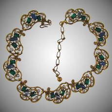 Signed Kramer link choker Necklace with blue, green and crystal rhinestones