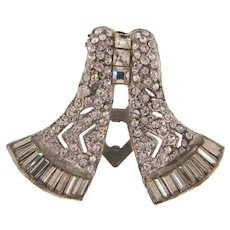 Art Deco pot metal diamante Dress Clip