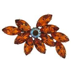 Vintage rhinestone floral brooch in topaz hue