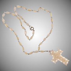 Vintage Mother of Pearl bead necklace with Mother of Pearl cross pendant