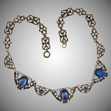 Vintage silver tone link choker Necklace with blue glass stones