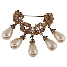 Vintage domed link Brooch with imitation pearl dangles and tiny crystal rhinestones