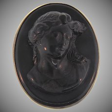Early 1900's celluloid large black cameo Brooch