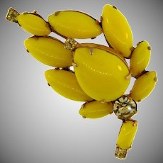 Vintage 1950's leaf Brooch with yellow and citrine glass stones