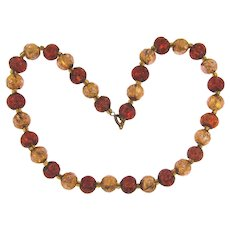 Vintage foiled glass bead choker Necklace in citrine and amber colors