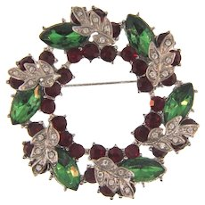 Vintage Christmas wreath Brooch with rhinestones