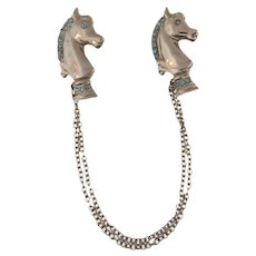 Vintage silver tone Chatelaine of two knight chessmen