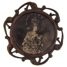 Unusual early celluloid Slide Pendant picture of a regal woman