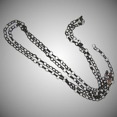 Victorian long woven hair links watch chain
