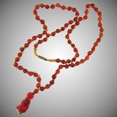 Vintage carnelian bead Necklace with glass bear Pendant