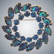Signed Keyes double circle blue rhinestone Brooch