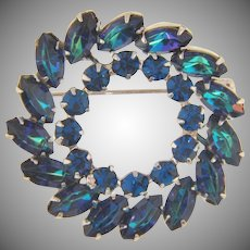 Signed Keyes double circle blue rhinestone Brooch