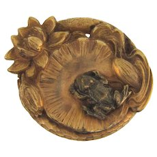 Vintage figural lily pad and frog Brooch