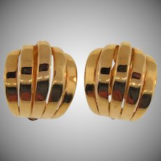 Signed Erwin Pearl large gold tone clip back Earrings