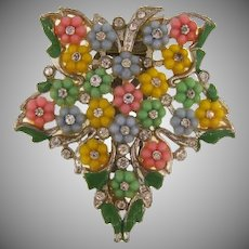 Vintage Dress Clip with early plastic flowers and crystal rhinestones