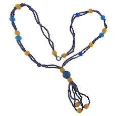 Early glass bead Necklace in blue and yellow colors
