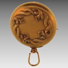 Art Nouveau Ketcham & McDougall retractable chatelaine chain pin