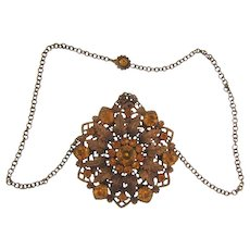 Vintage large Pendant Necklace in a floral design with topaz rhinestones