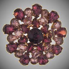 Gorgeous vintage rhinestone Brooch in purple, lavender and crystal stones