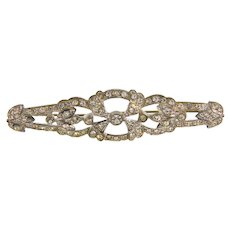 Art Deco diamante pot metal long Brooch
