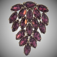 Vintage large Dress Clip with purple rhinestones