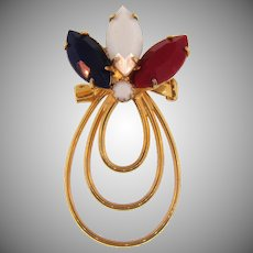 Vintage patriot red,white and blue Brooch with gold tone loops