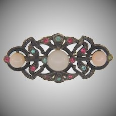 Early pot metal Brooch with opaque cabochons and multicolored rhinestones
