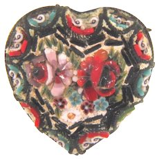 Marked made in Italy small early mosaic heart shaped Scatter Pin