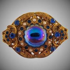 Marked Germany vintage ornate filigree Brooch with rhinestones and imitation pearls