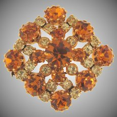 Vintage rhinestone Brooch in fall shades of citrine and topaz stones