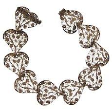 Vintage filigree silver wire heart shaped Bracelet