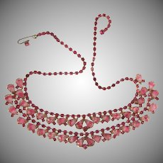 Vintage double strand rhinestone choker Necklace in pink tones