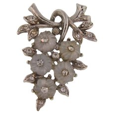 Vintage floral Brooch with molded glass flowers and crystal rhinestones