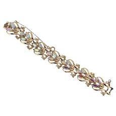 Signed Coro light gold tone link AB rhinestone Bracelet