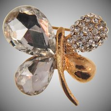 Vintage figural butterfly Brooch with crystal rhinestones