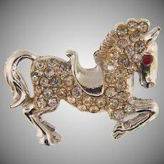 Vintage figural silver tone prancing pony Brooch with crystal rhinestones