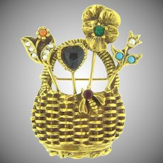 Vintage figural basket Brooch with rhinestones and imitation pearls
