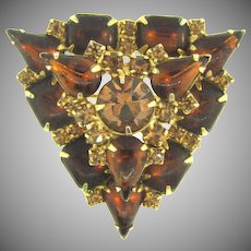 Signed Weiss triangular rhinestone Brooch in fall shades
