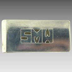 Signed Doskow sterling Money Clip with monogrammed SMW