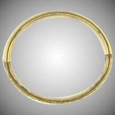 Early vintage gold filled Bangle Bracelet monogrammed with scrolling design