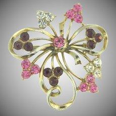 Signed Coro vintage ribbon Brooch with rhinestones