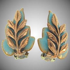 Signed Matisse Renior clip back turquoise enamel and copper 'Laurel' Earrings