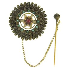 Early gold filled floral design Brooch with Stick Pin safety chain