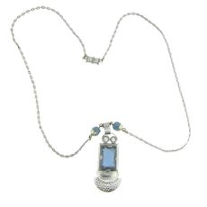 Vintage Arts and Crafts silver tone pendant Necklace with blue glass stone and beads