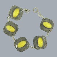 Vintage silver tone link Bracelet with yellow glass cabochons