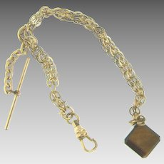 Signed F&B vintage Watch Chain with tiger eye cube fob
