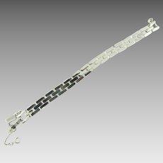 Signed Monet silver tone Industrial Age design Bracelet
