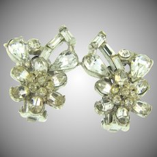 Vintage crystal rhinestone clip back Earrings